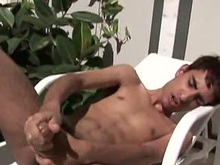 Bruno jerking fast his massive sucks his cock